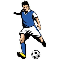 Soccer player shooting a ball vector