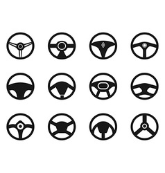 steering wheel icons set vector image vector image