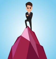 Successful businessman happy on the mountain vector