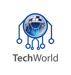 technology world logo concept design symbol vector image