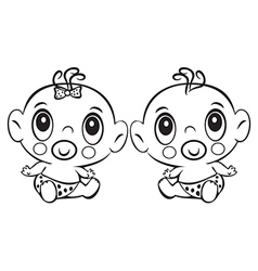 two funny basitting cute baboy and girl vector image