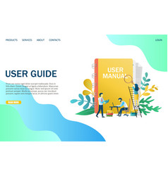 User guide website landing page design vector
