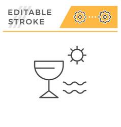 vacation editable stroke line icon vector image