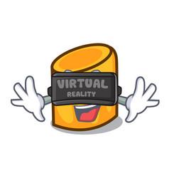 virtual reality rigatoni mascot cartoon style vector image