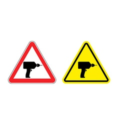 Warning sign attention drill Hazard yellow sign vector image