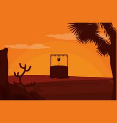 Waterhole on desert vector