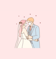 Wedding and holidays during coronavirus pandemic vector