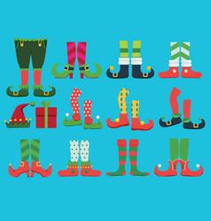 Xmas shoes fairytale elf boots and leggings santa vector