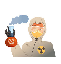 young man in mask and protective suit holding vector image