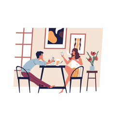 young modern couple with smartphones in the vector image