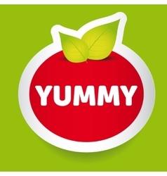 Yummy food label vector image