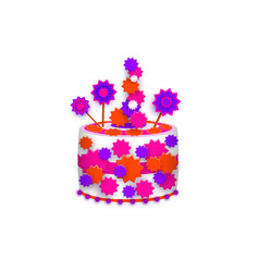 birthday cake decorated with stars and icing vector image vector image