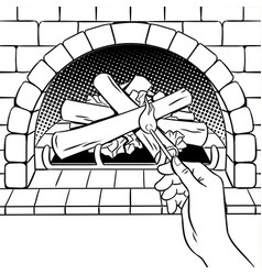 fireplace match hand coloring book vector image