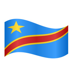flag of dr congo waving on white background vector image vector image