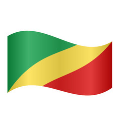 flag of the congo republic waving white background vector image vector image