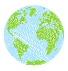 hand drawn globe vector image
