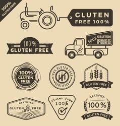 Set of gluten free food certified label logo vector image