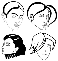 Set of woman faces vector image vector image