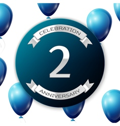 Silver number two years anniversary celebration on vector image vector image