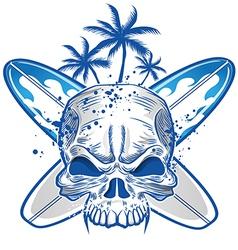 skull on surfboard background vector image vector image
