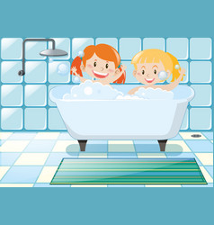 two girls taking bubble bath vector image