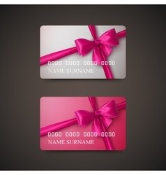 Gift Cards With Pink Bow And Ribbon vector image vector image