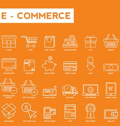 Set of thin lines web icons for e-commerce vector image vector image
