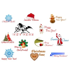 Symbols of Christmas and New Year vector image