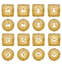 Elegant Golden Web Buttons Arrows vector image