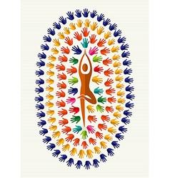 India human hands yoga mandala vector image vector image