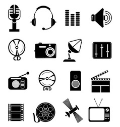 Multimedia icons set vector image