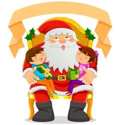 Santa and children vector image