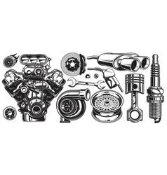 set of monochrome car repair service elements vector image