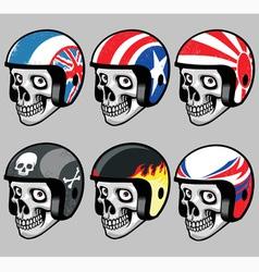 skull wearing various retro helmet vector image vector image