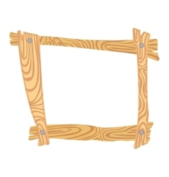 Wooden cartoon frame vector image vector image