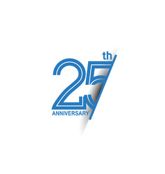 25 anniversary blue cut style isolated on white vector