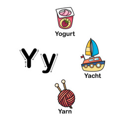 alphabet letter y-yogurt yacht yarn vector image
