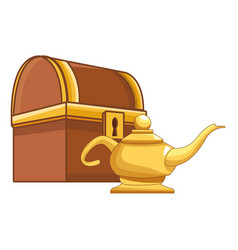 Antique wooden chest and magic lamp vector