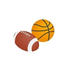 basketball ball and rugball icon vector image