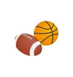 Basketball ball and rugby ball icon vector image