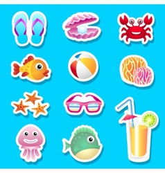Beach stickers vector image