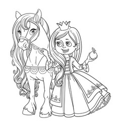 Beautiful princess with horse outlined picture for vector