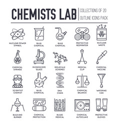 biohazard chemists in chemistry lab thin line vector image