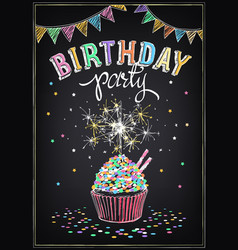 birthday invitation card birthday cupcake with vector image