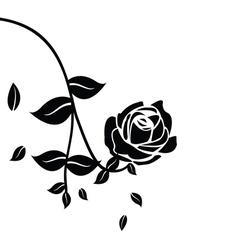 Black silhouette of rose with leaves vector image