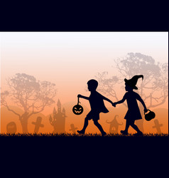black silhouettes children in suits go hand vector image