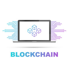 Blockchain icon on laptop screen connected cubes vector