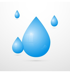 Blue Water Drops Isolated on White Background vector image