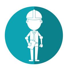 Business man construction clipboard helmet shadow vector