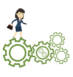 Business woman running on cogwheels vector